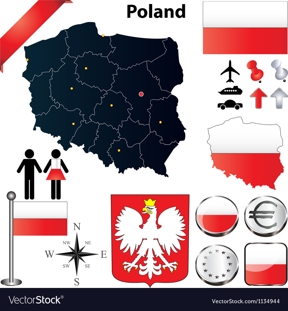 Poland map vector | Price: 3 Credit (USD $3)