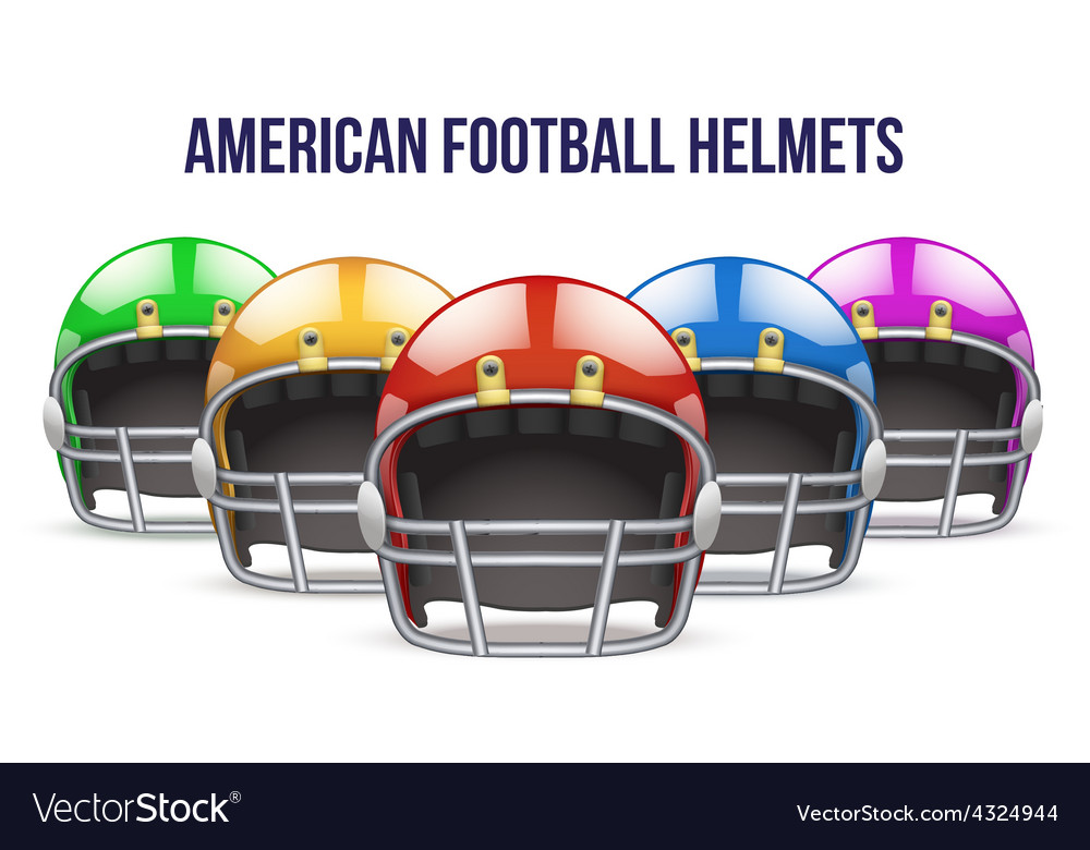 Set of realistic american football helmet front vector | Price: 1 Credit (USD $1)