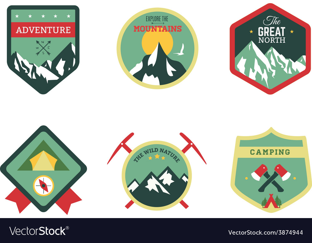 Set of vintage woods camp badges and travel logo vector | Price: 1 Credit (USD $1)