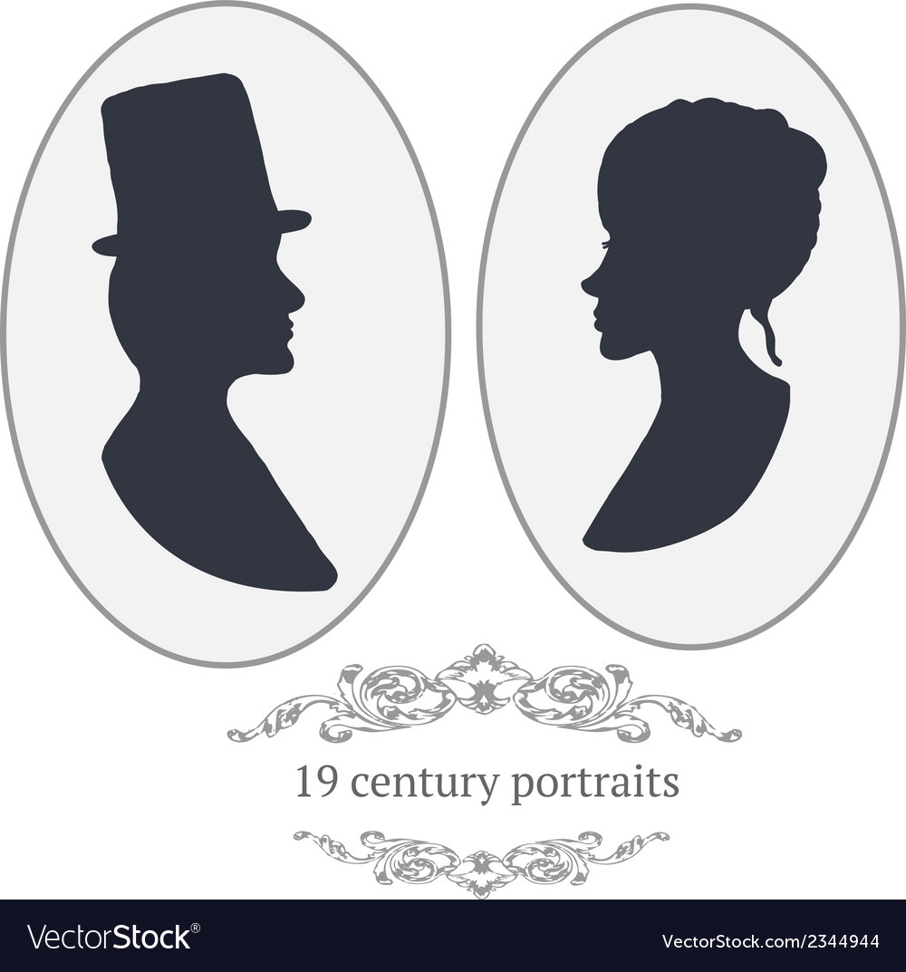 Vintage card portraits with woman and man vector | Price: 1 Credit (USD $1)