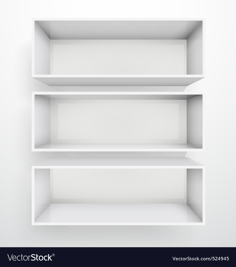 3d isolated empty white bookshelf vector | Price: 3 Credit (USD $3)