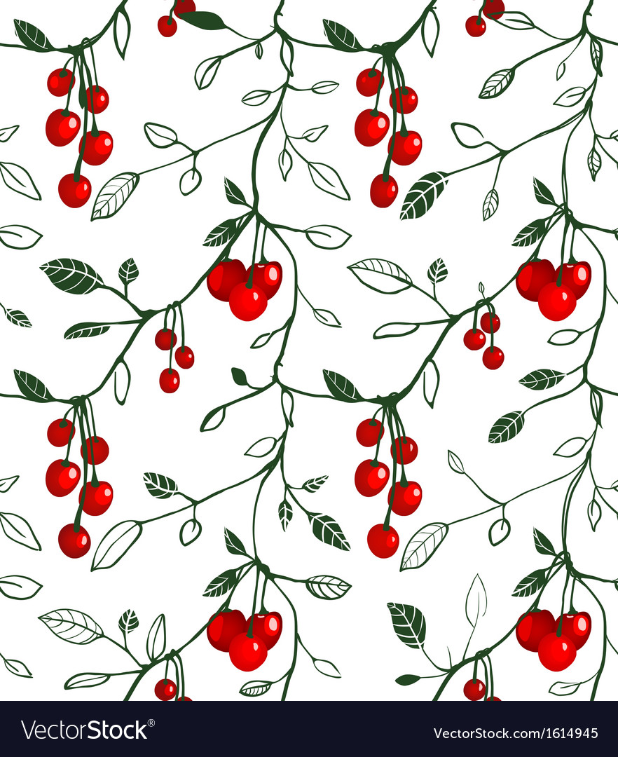 Cherry berry seamless pattern vector | Price: 1 Credit (USD $1)