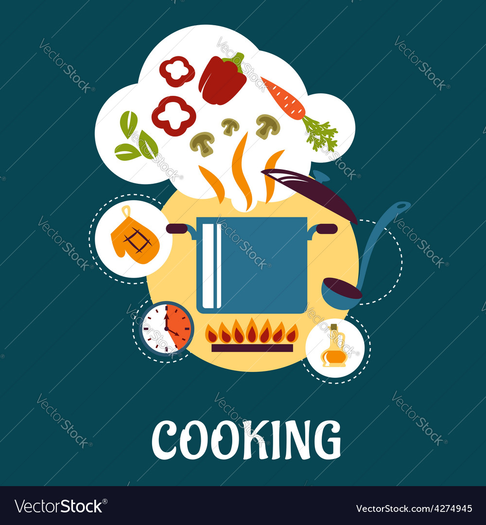Cooking flat infographic with vegetable soup vector | Price: 1 Credit (USD $1)