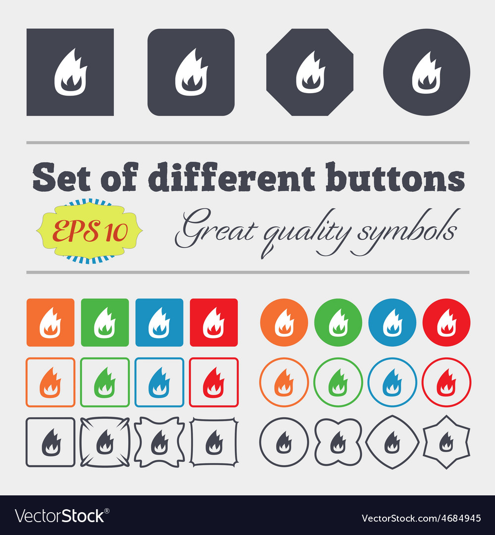Fire flame icon sign big set of colorful diverse vector | Price: 1 Credit (USD $1)