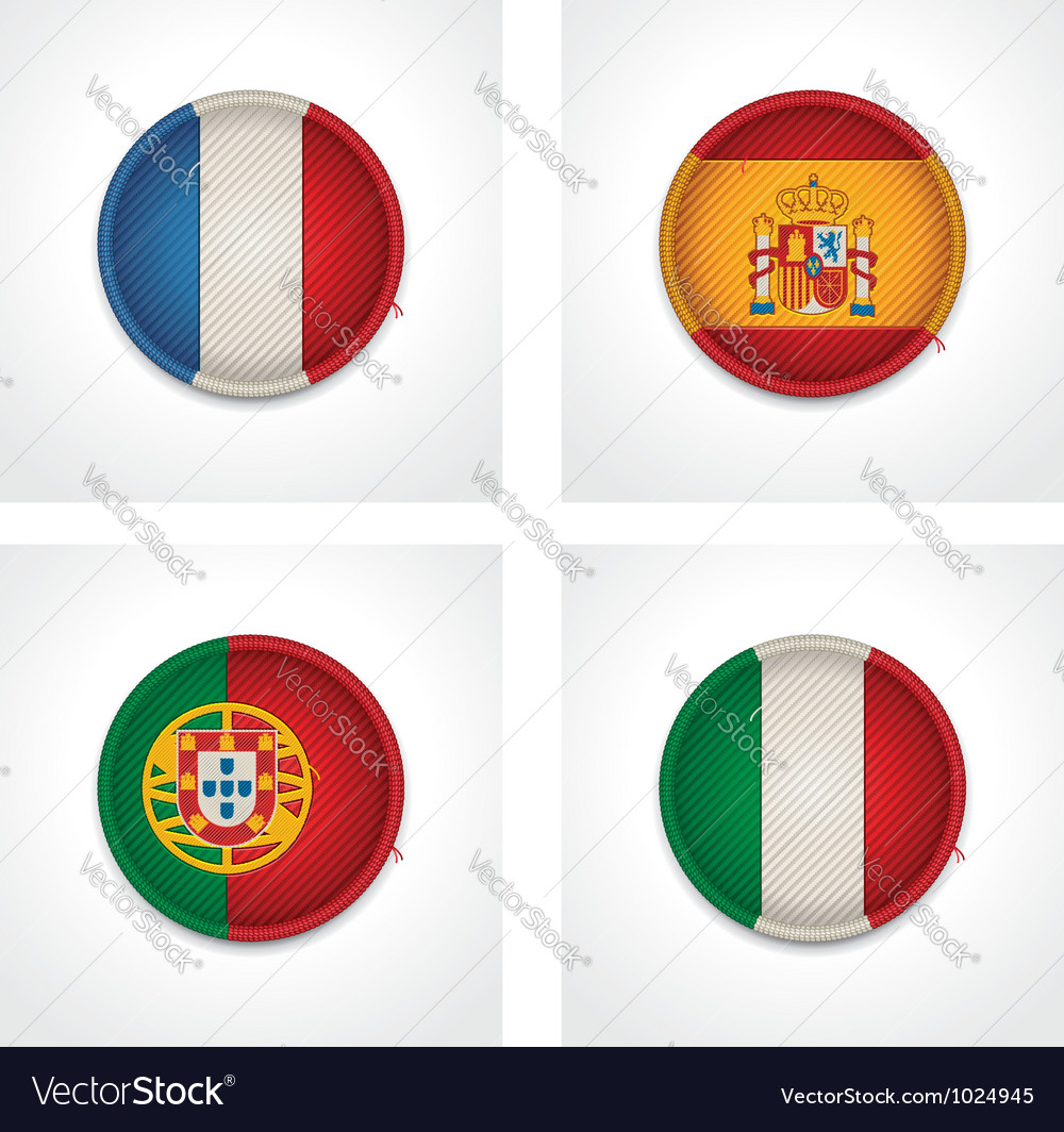 Flags of countries as fabric badges vector | Price: 1 Credit (USD $1)