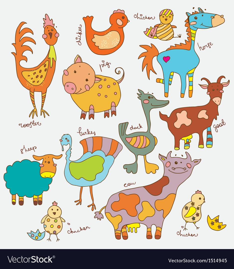 Funny cartoon farm animals vector | Price: 3 Credit (USD $3)