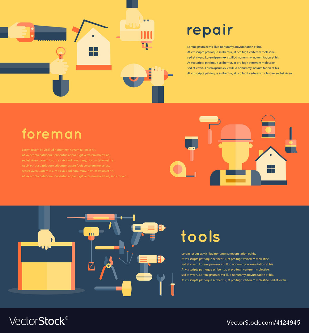 Home repair tools banners vector | Price: 1 Credit (USD $1)