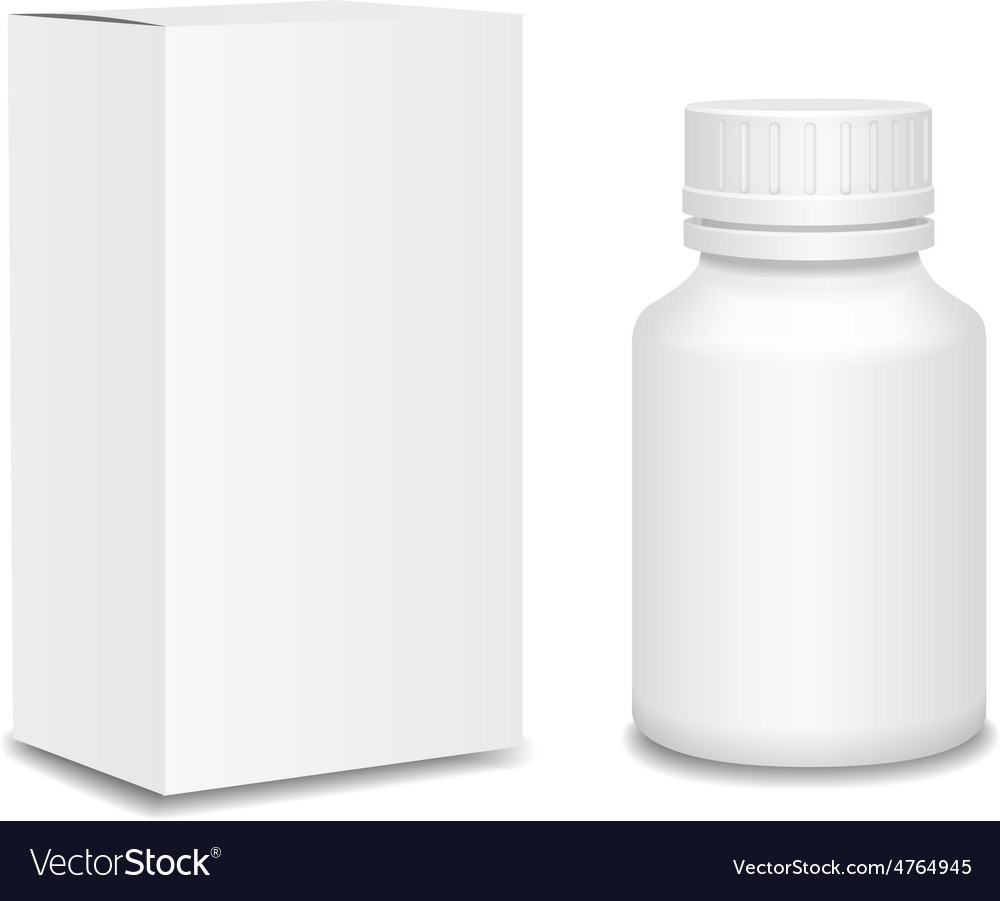 Medicine bottle on white background white plastic vector | Price: 1 Credit (USD $1)