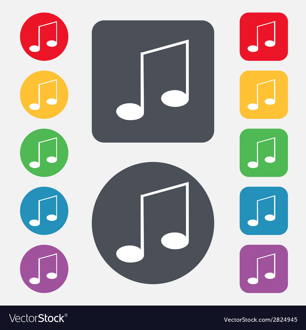 Music note sign icon set musical symbol colourful vector | Price: 1 Credit (USD $1)