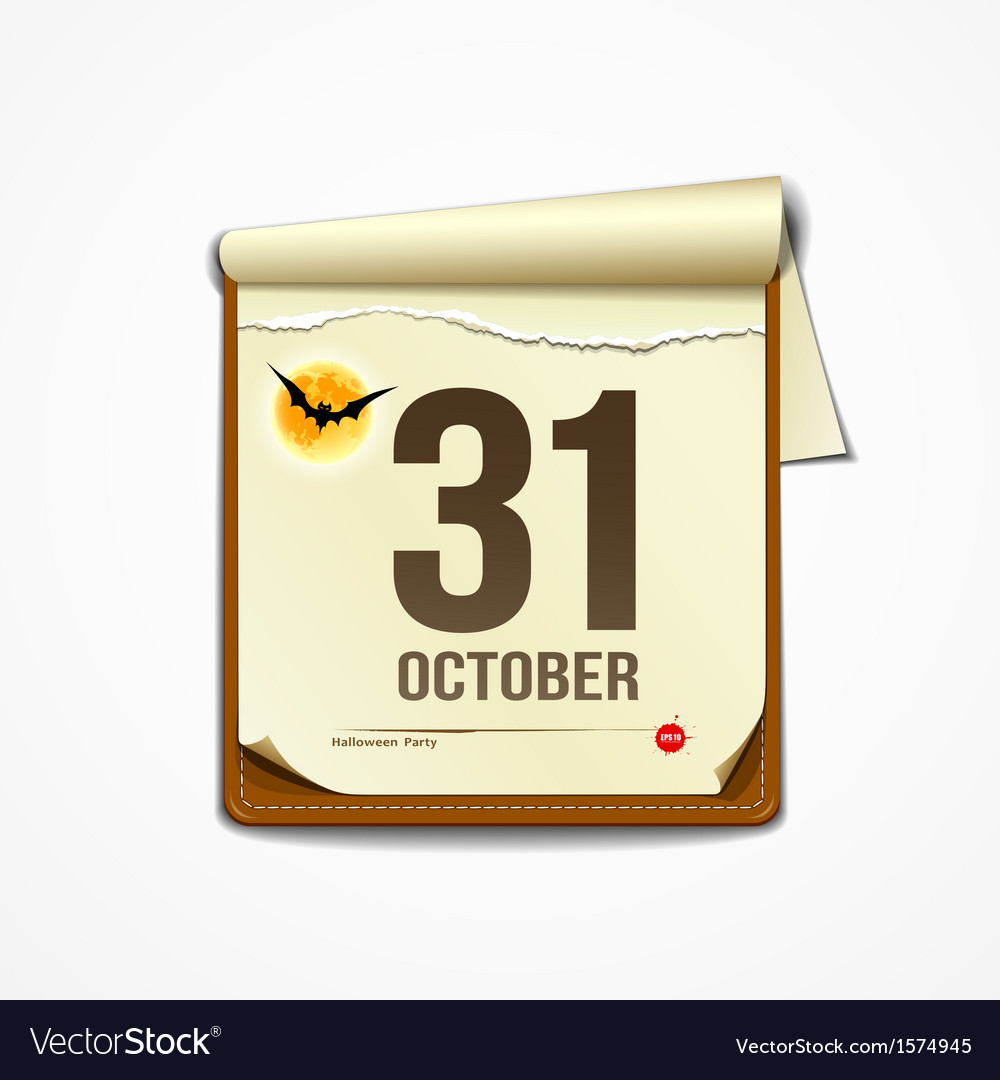 Paper october calender in halloween party vector | Price: 1 Credit (USD $1)