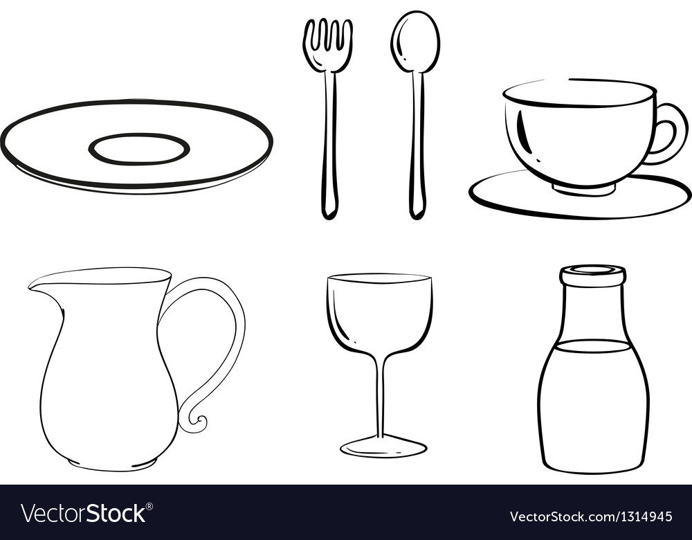 Silhouettes of tablewares vector | Price: 1 Credit (USD $1)