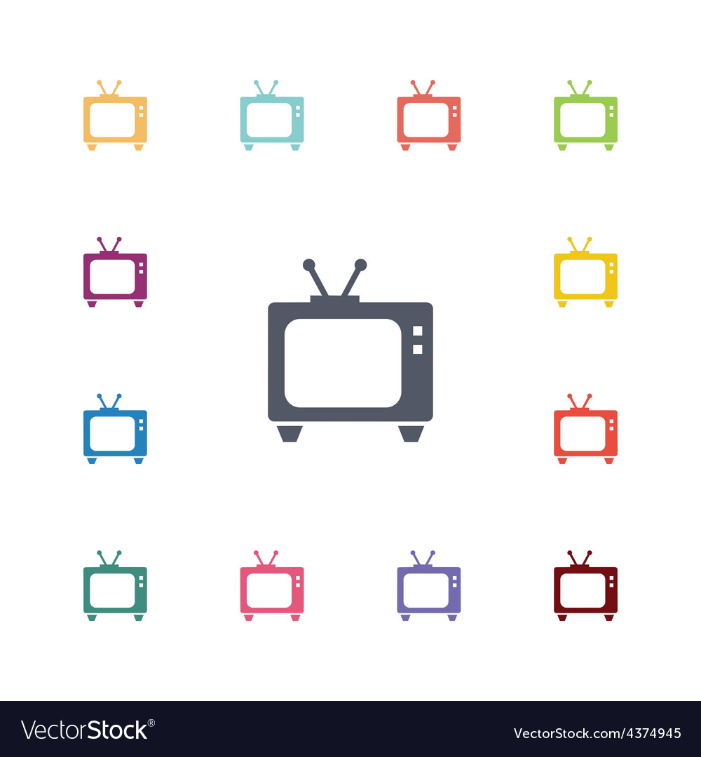 Tv flat icons set vector   Price: 1 Credit (USD $1)