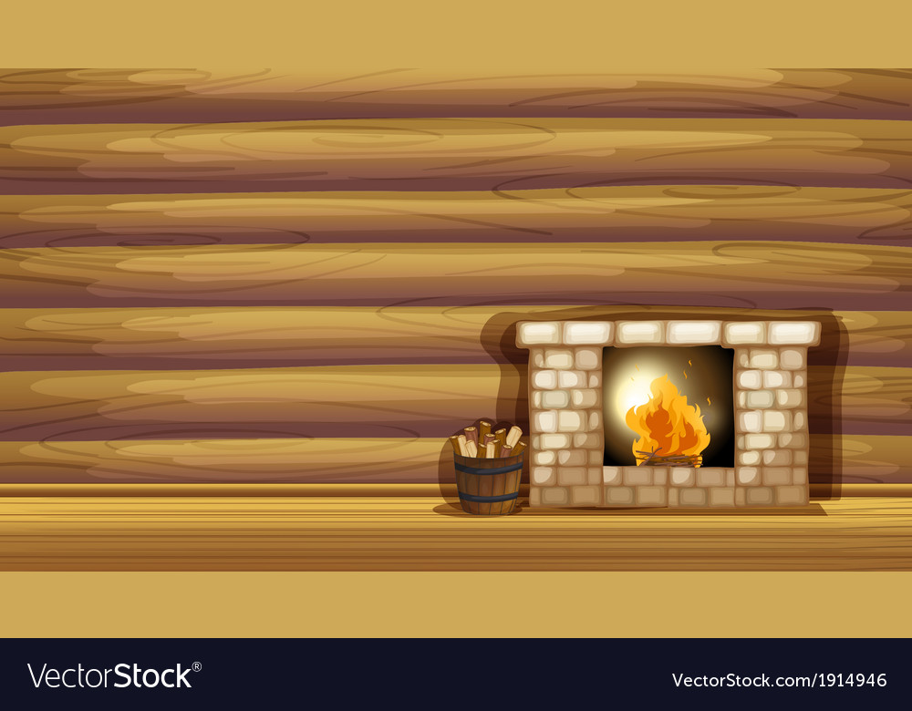 A fireplace near the wooden wall vector | Price: 3 Credit (USD $3)