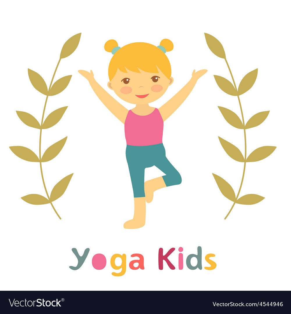 Cute yoga kids card with little girl doing yoga vector | Price: 1 Credit (USD $1)