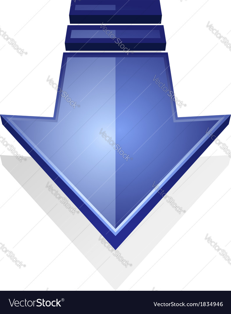 Glossy blue icon of an arrow pointing down vector | Price: 1 Credit (USD $1)