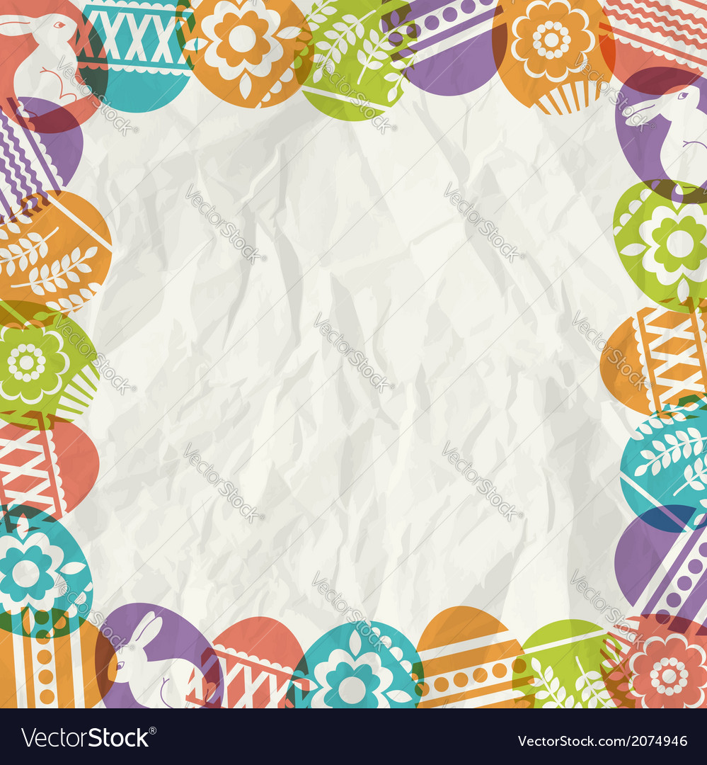 Paper background with frame of colour easter eggs vector | Price: 1 Credit (USD $1)