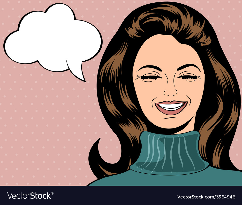 Pop art cute retro woman in comics style laughing vector | Price: 1 Credit (USD $1)