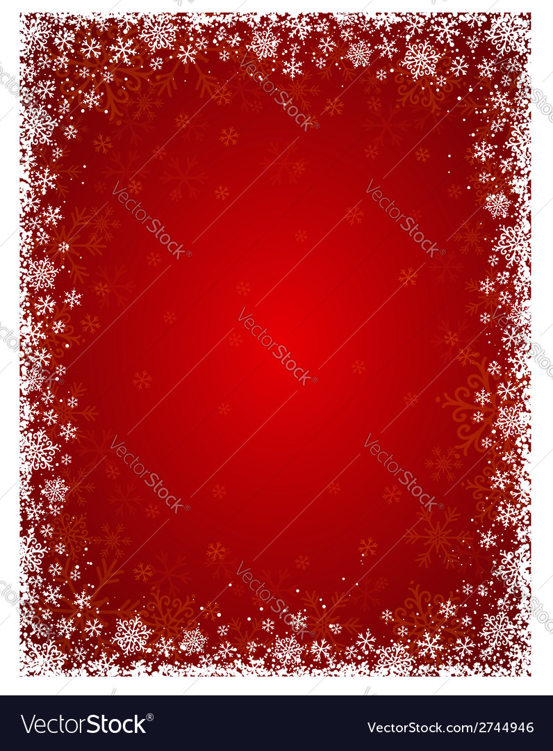 Red background with frame of snowflakes vector | Price: 1 Credit (USD $1)