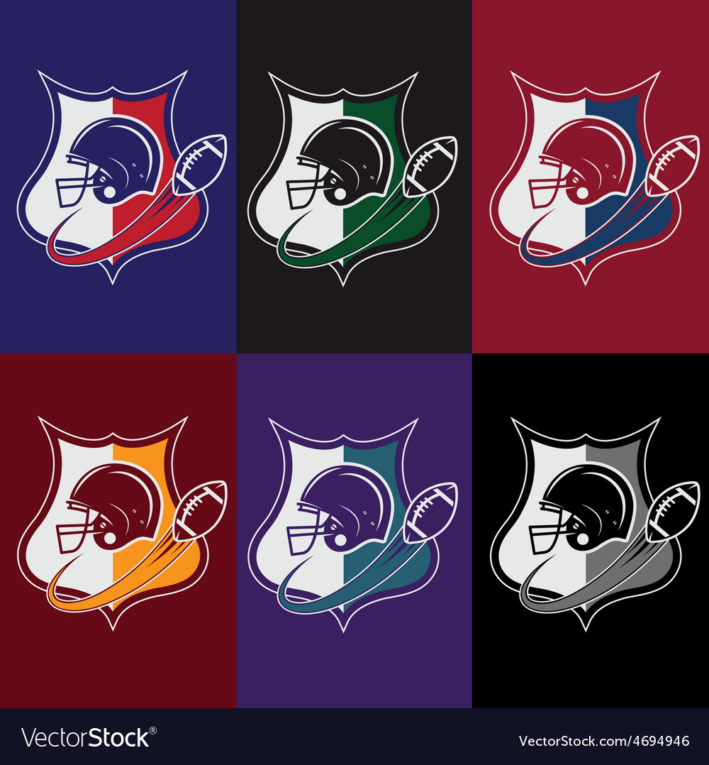 Set of vintage american football crests vector | Price: 1 Credit (USD $1)