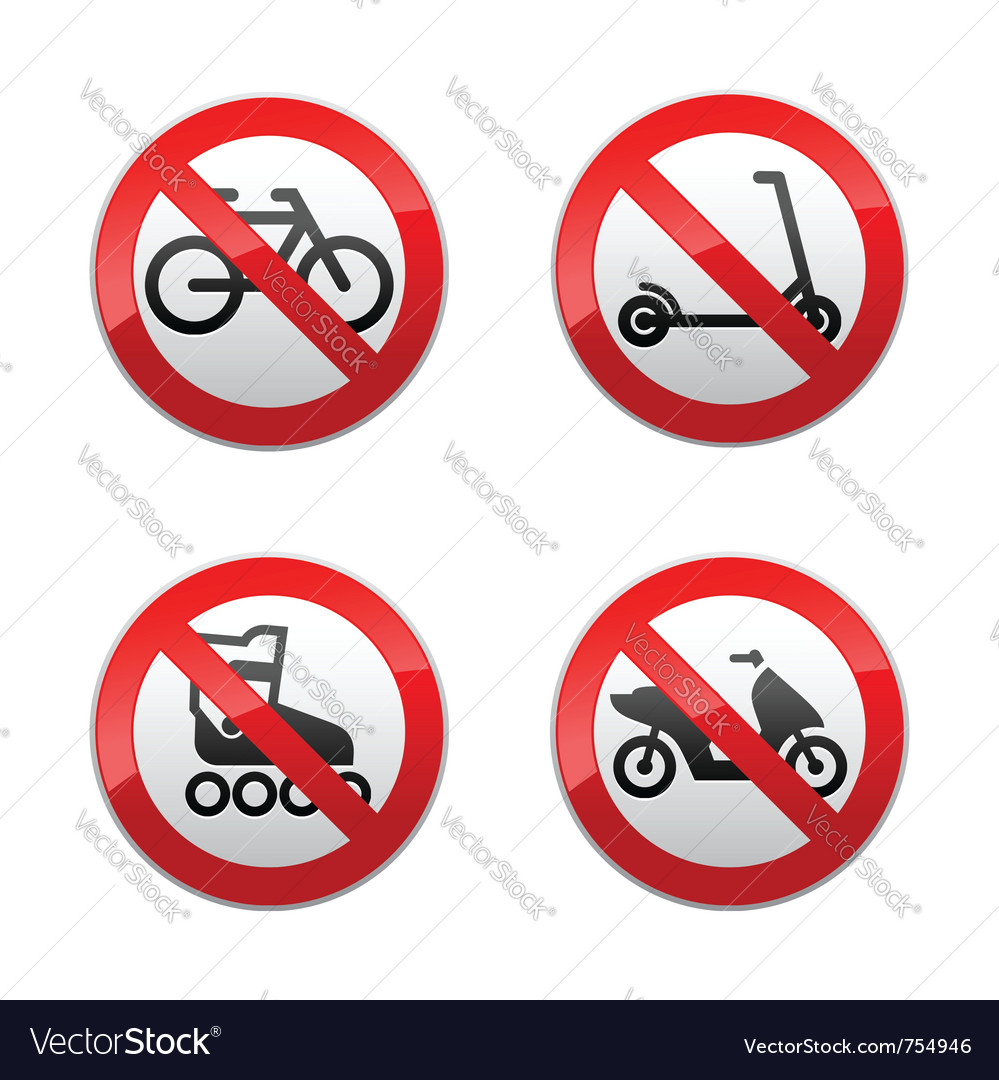 Set prohibited signs  active sports vector