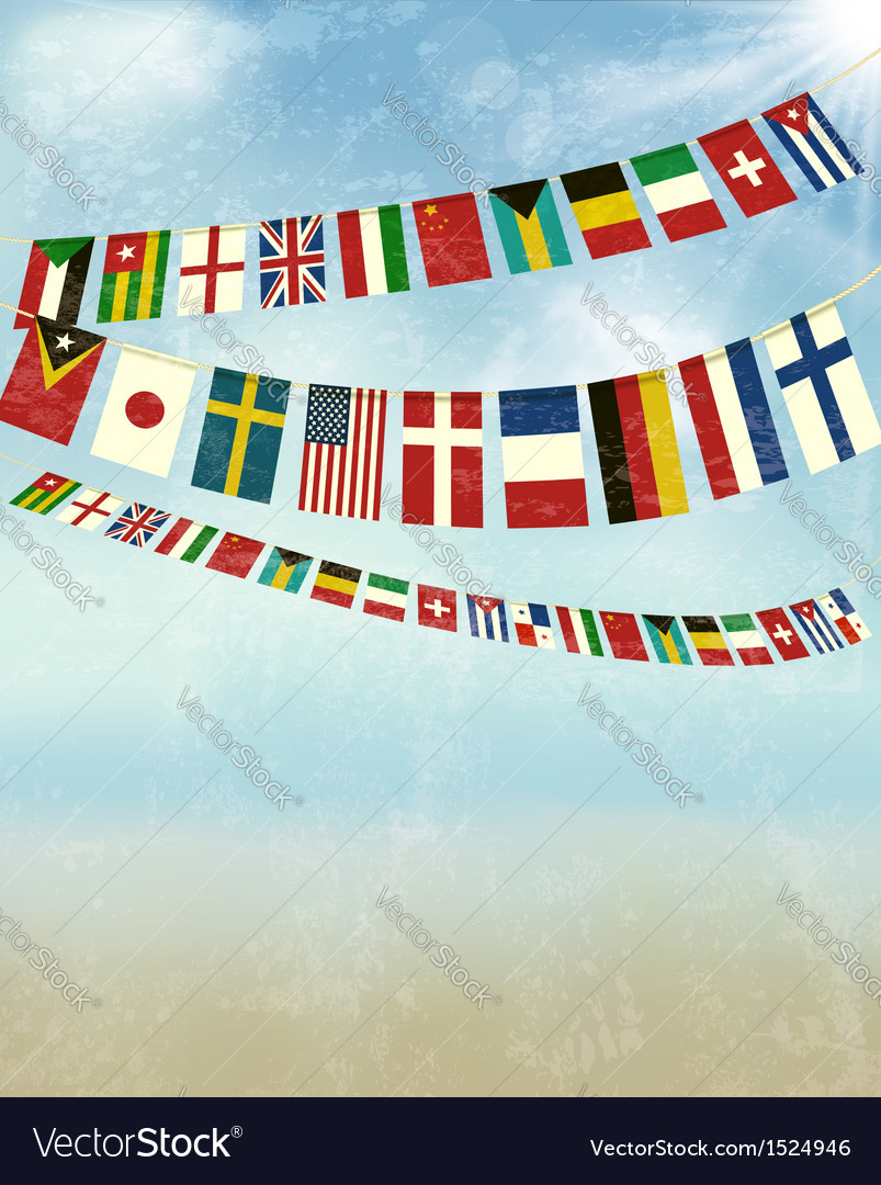 Vintage background with world bunting flags vector | Price: 3 Credit (USD $3)
