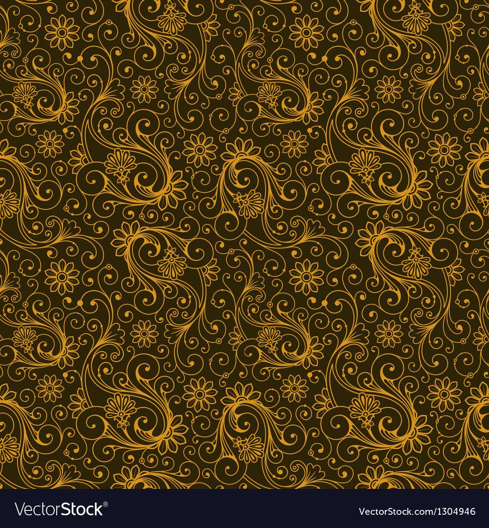 Yellow and brown colors art nouveau plant pattern vector | Price: 1 Credit (USD $1)