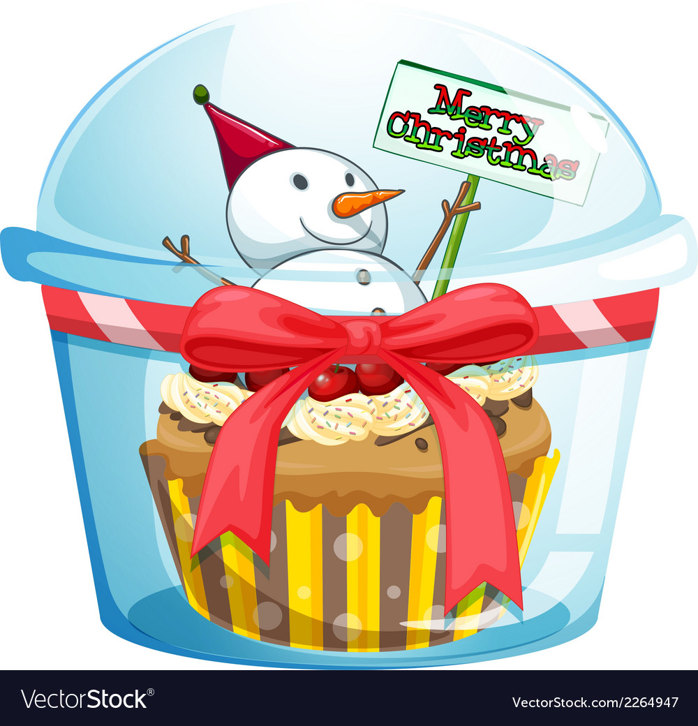 A disposable cup with a cupcake and a snowman vector | Price: 1 Credit (USD $1)
