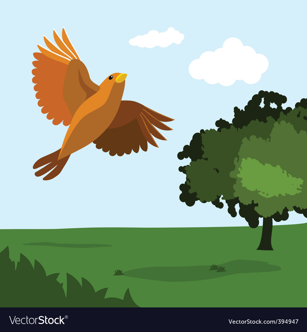 Bird with nature vector | Price: 1 Credit (USD $1)