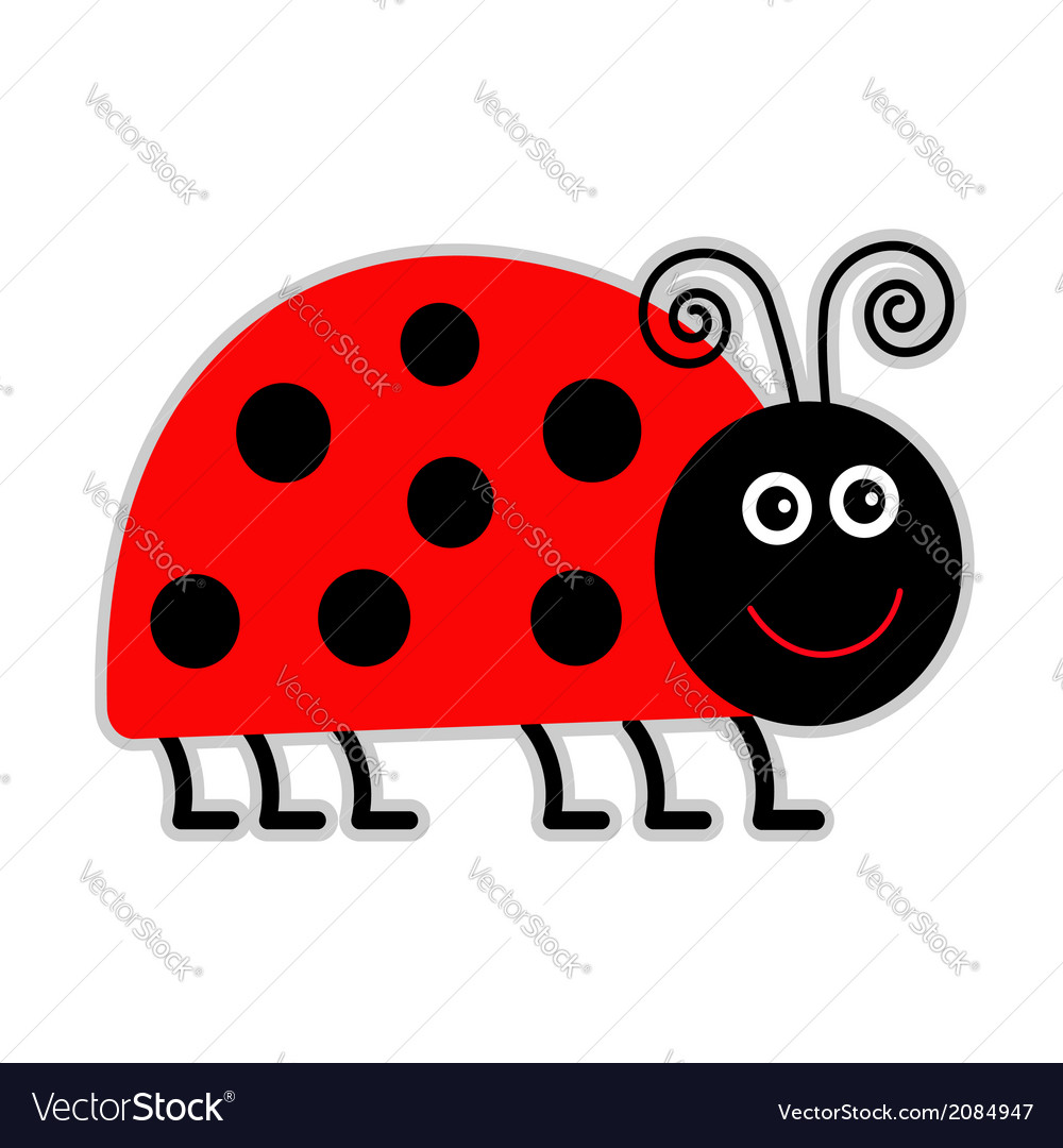 Cute cartoon lady bug isolated vector | Price: 1 Credit (USD $1)
