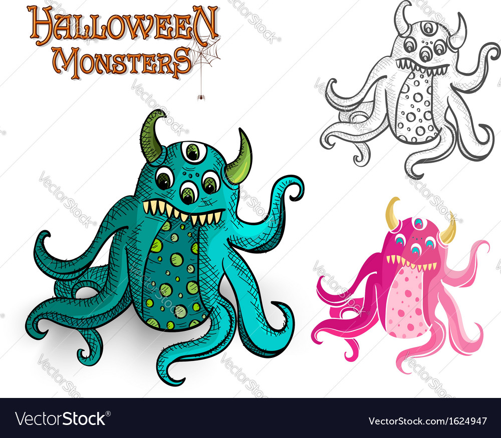 Halloween monsters spooky creature eps10 file vector | Price: 1 Credit (USD $1)