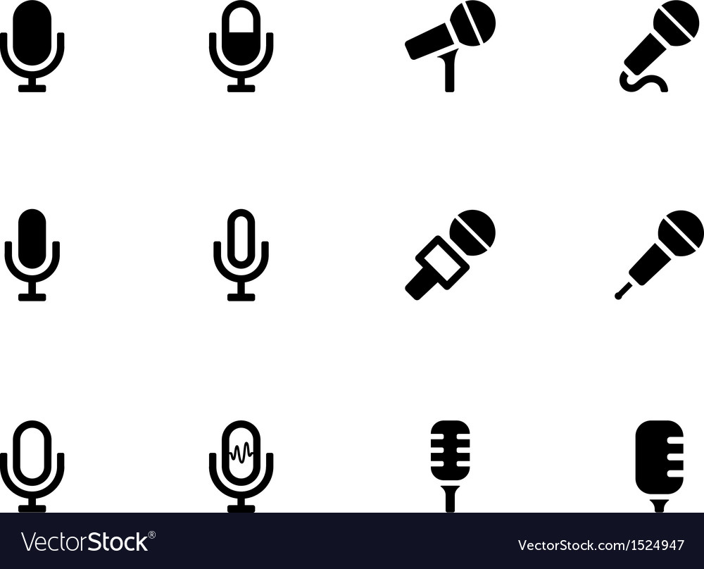 Microphone icons on white background vector | Price: 1 Credit (USD $1)