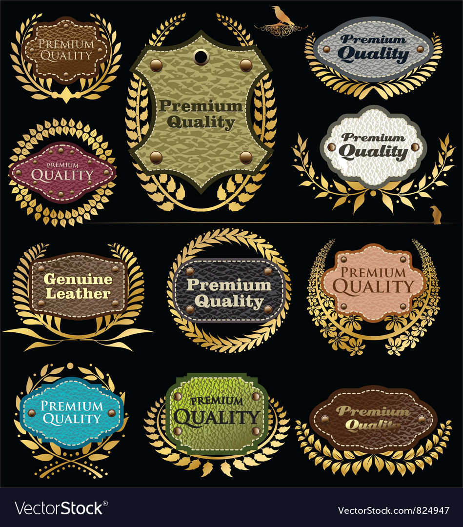 Premium quality leather labels vector | Price: 3 Credit (USD $3)