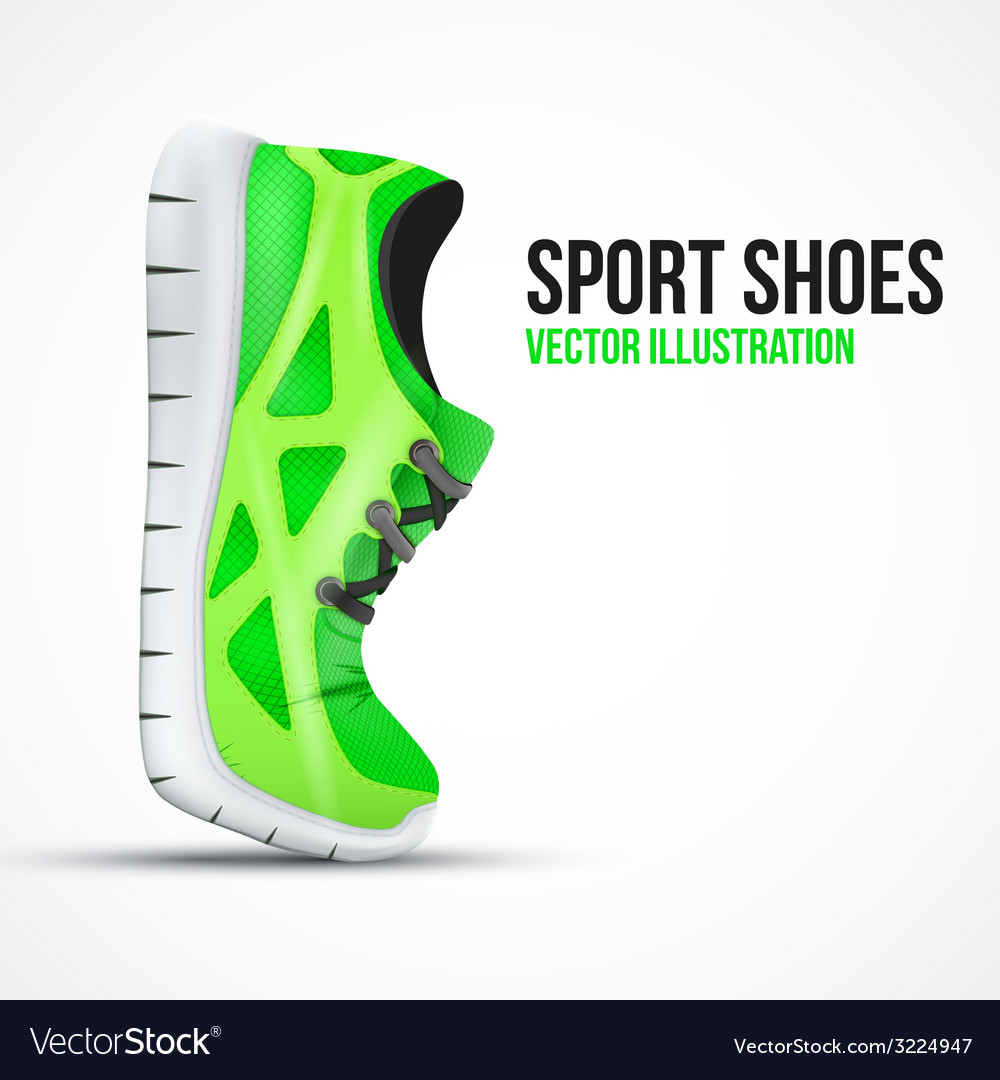 Running curved green shoes bright sport sneakers vector | Price: 3 Credit (USD $3)