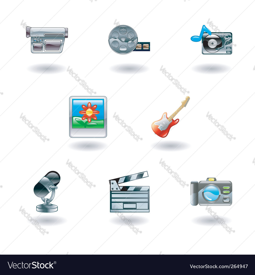 Shiny media icons vector | Price: 1 Credit (USD $1)