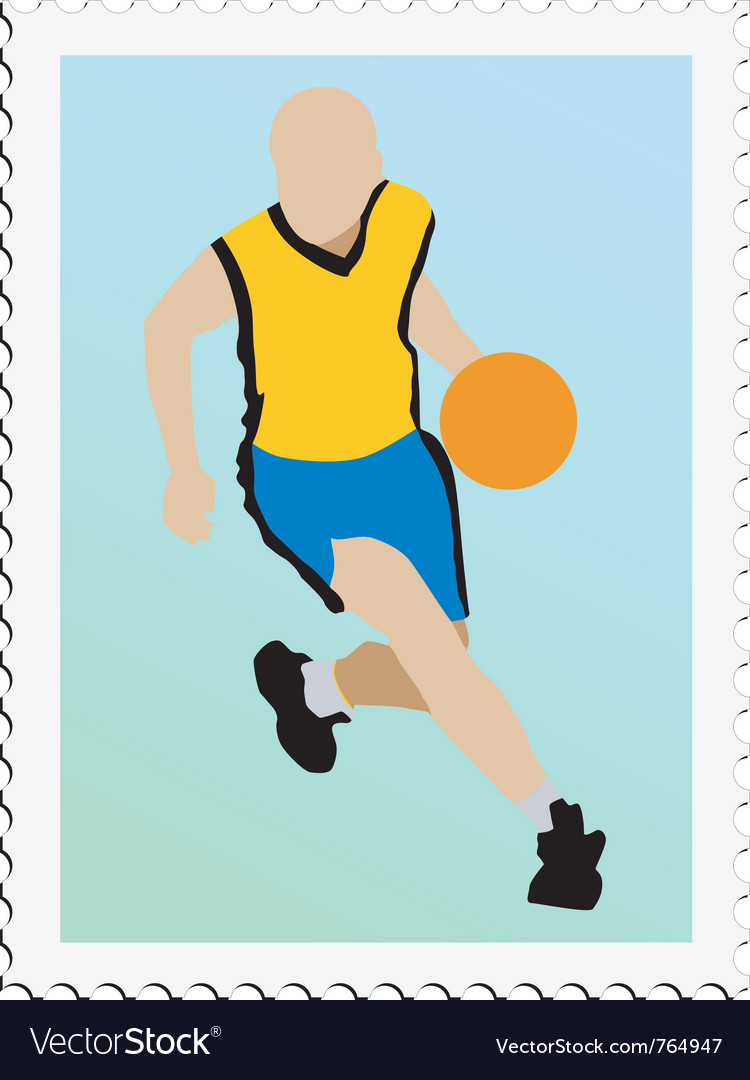 Stamp with image of basketball vector | Price: 1 Credit (USD $1)