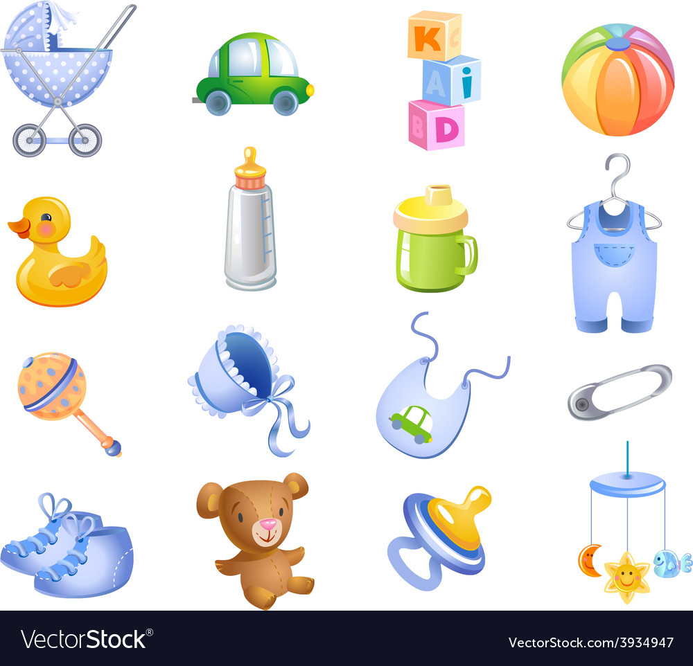 Toys and accessories for baby boy vector | Price: 3 Credit (USD $3)