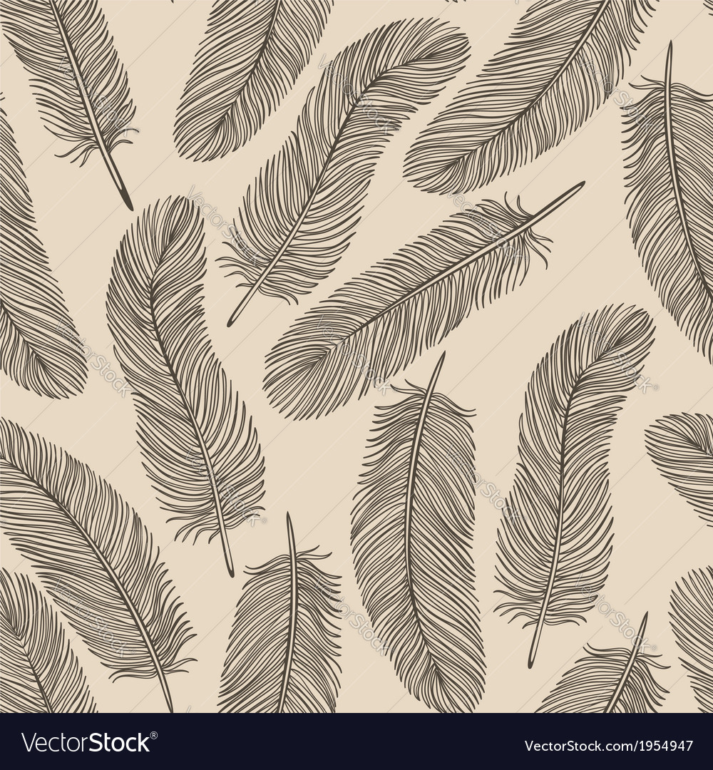 Vintage feather seamless background vector | Price: 1 Credit (USD $1)