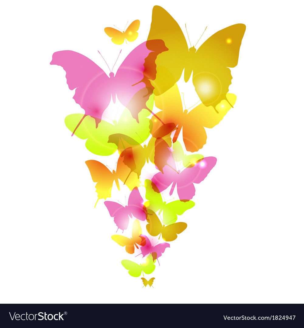 Watercolor butterflies design with flare vector | Price: 1 Credit (USD $1)