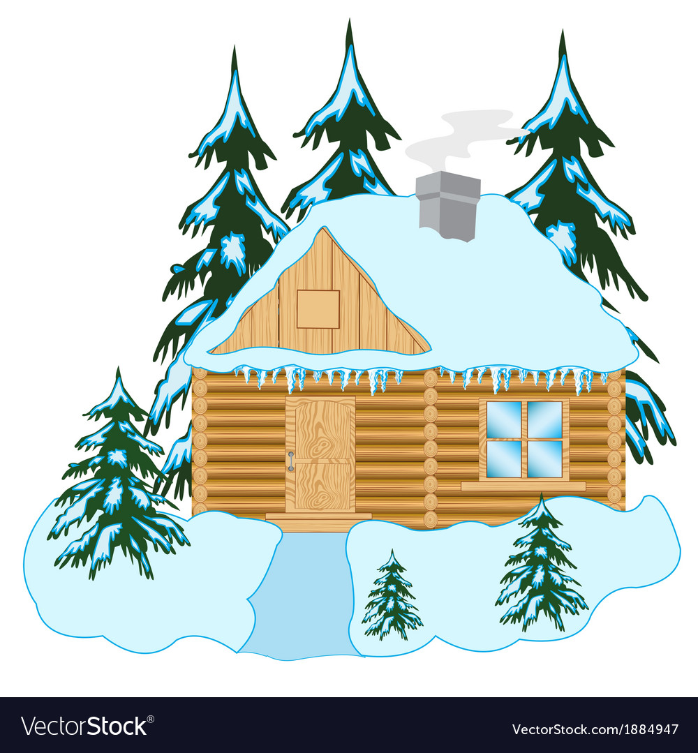 Wooden house in wood vector | Price: 1 Credit (USD $1)