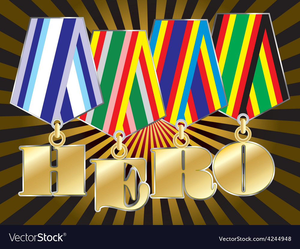 Abstract military awards with hero word vector | Price: 1 Credit (USD $1)