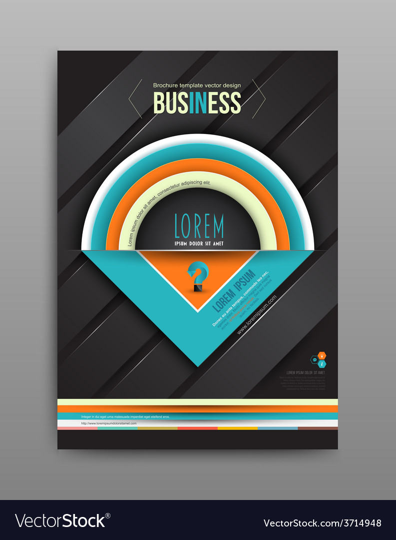 Brochure design template half circle on dark vector | Price: 1 Credit (USD $1)