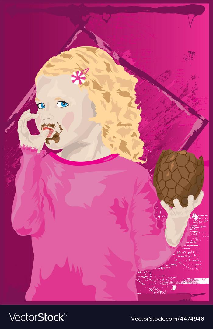 Easter girl cartoon vector | Price: 1 Credit (USD $1)