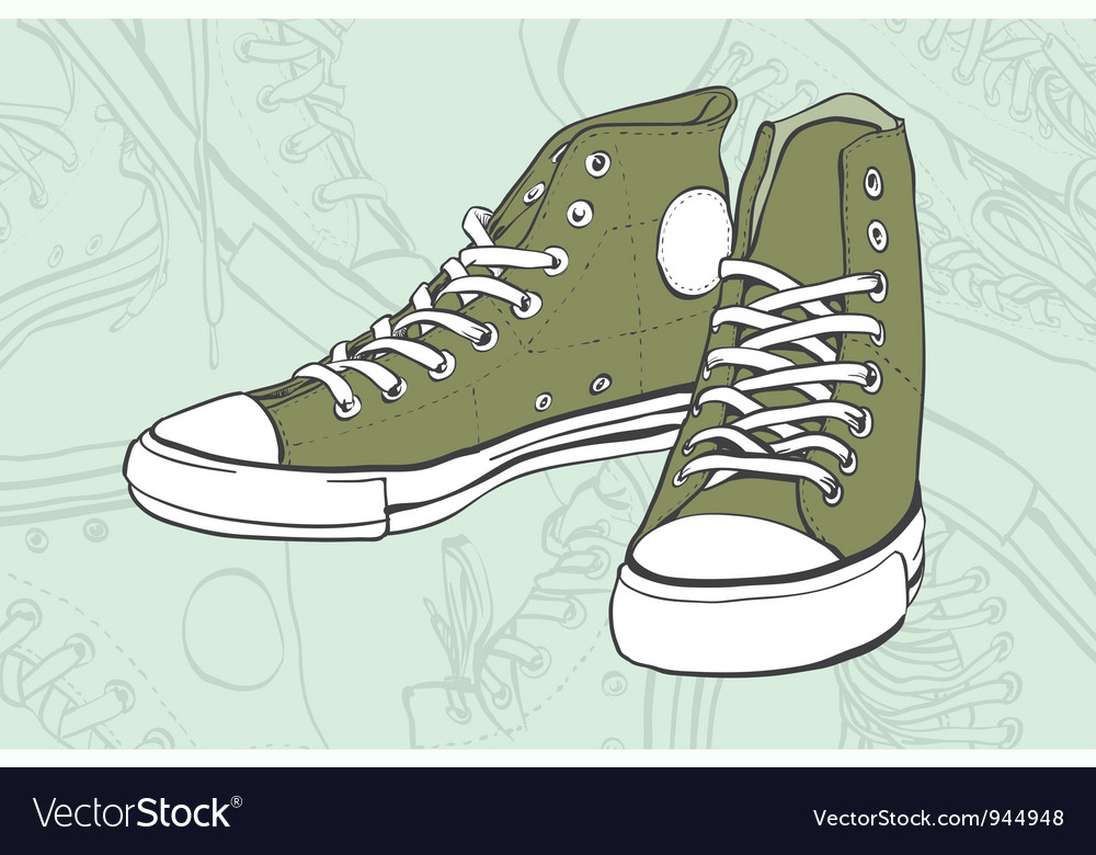 Green sneakers vector | Price: 1 Credit (USD $1)