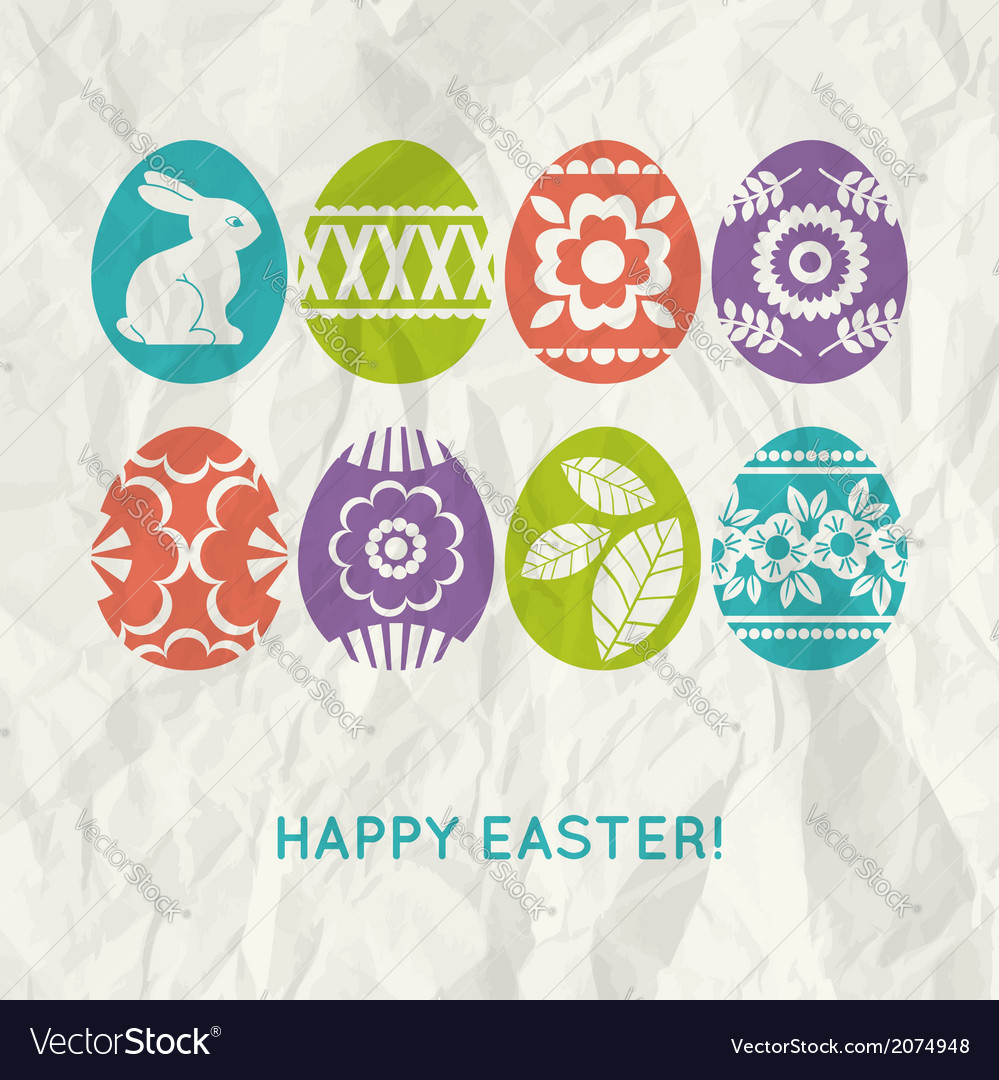 Paper background with colour easter eggs vector | Price: 1 Credit (USD $1)