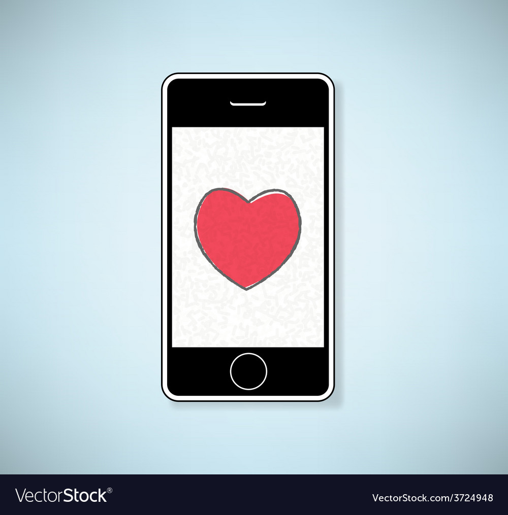 Phone show heart valentines day background vector | Price: 1 Credit (USD $1)