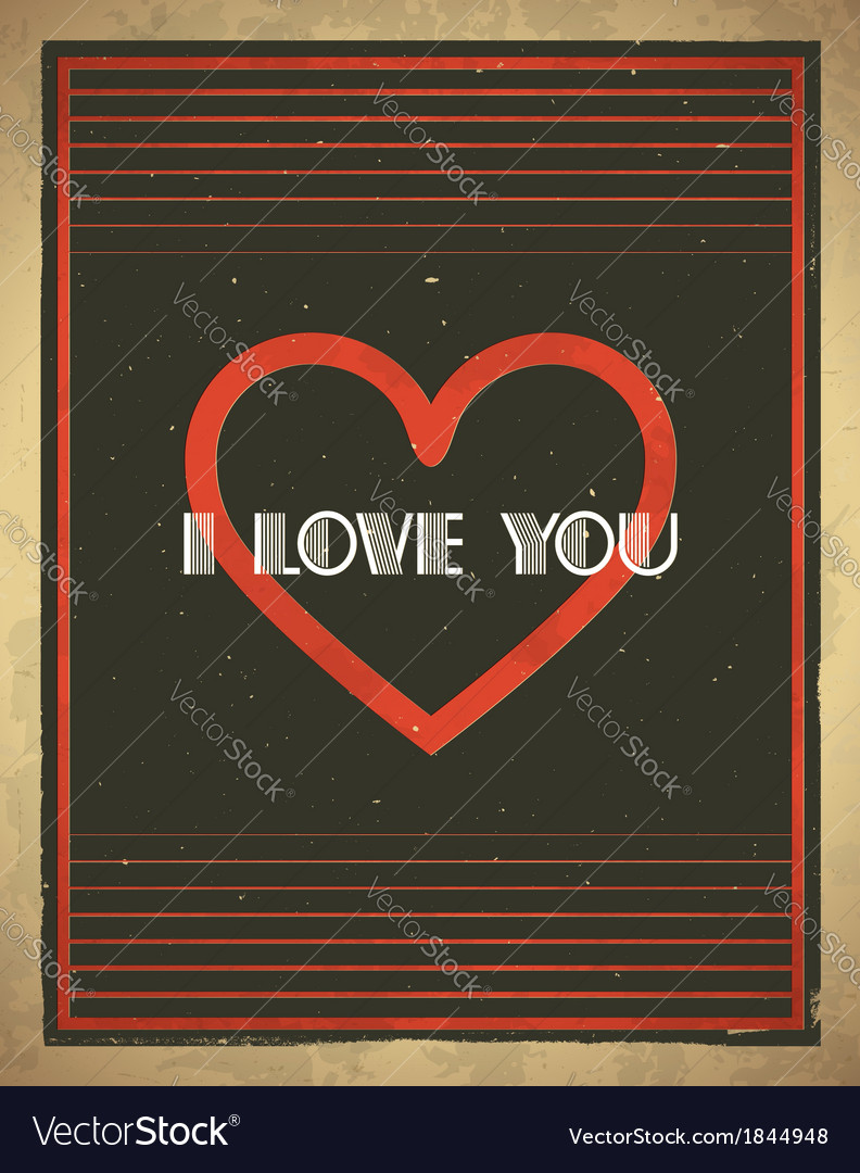 Retro valentines day card with heart shape vector | Price: 1 Credit (USD $1)