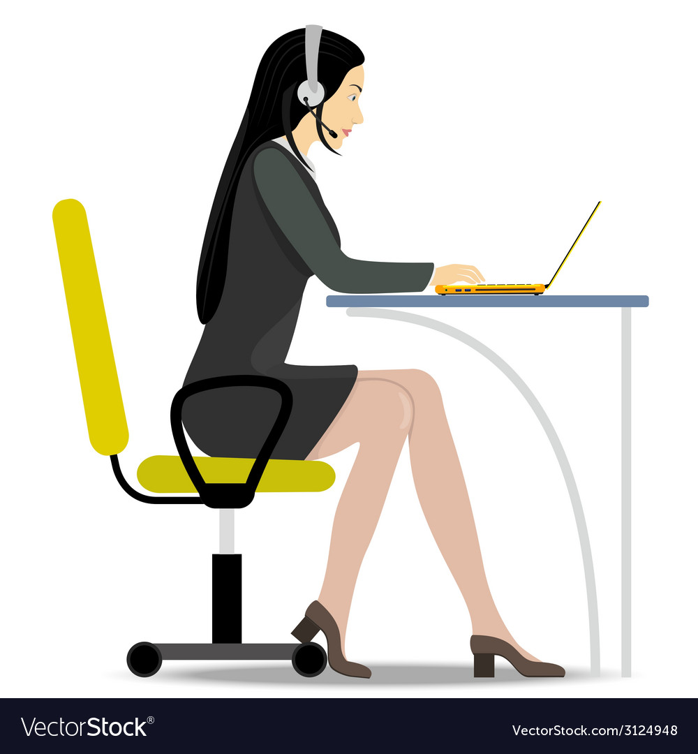 Woman with headset on her head sitting on a chair vector | Price: 1 Credit (USD $1)