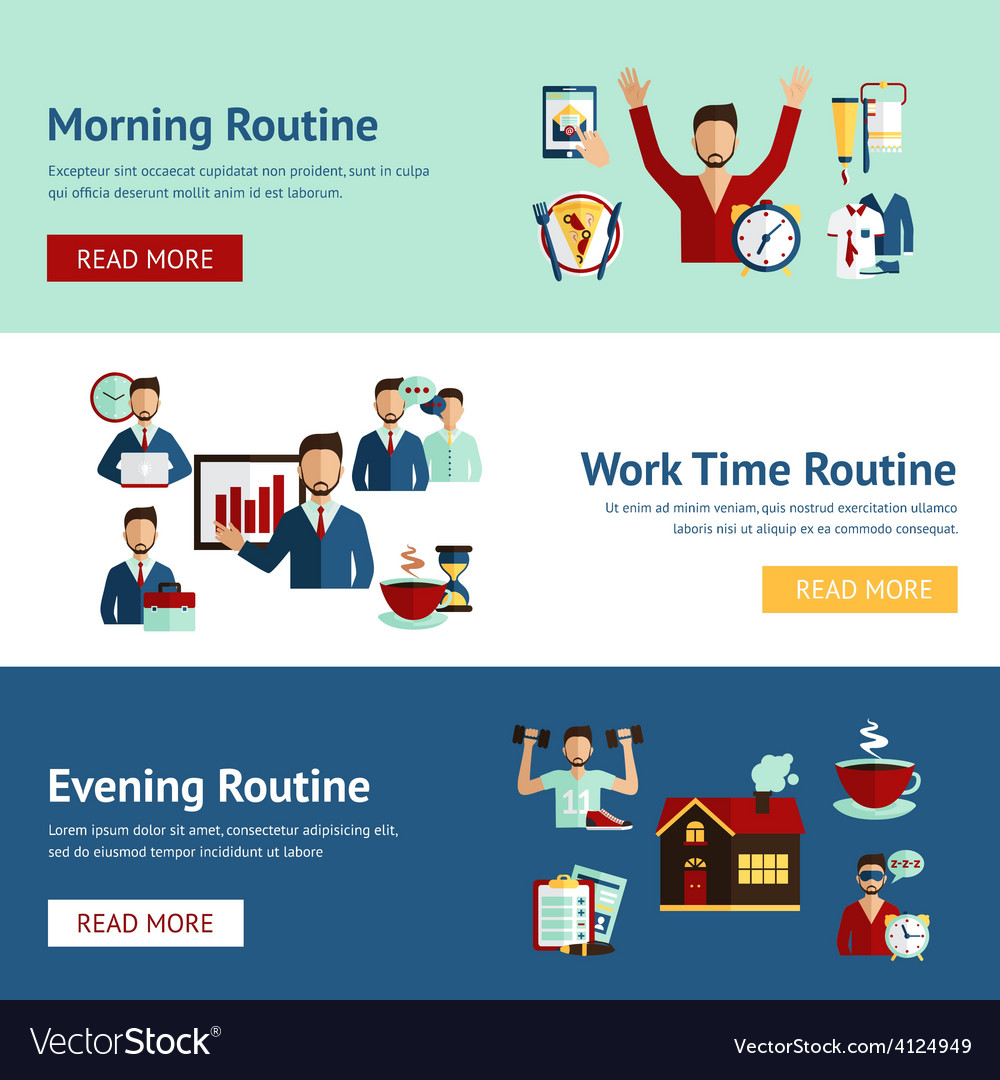 Businessman daily routine concept banners vector | Price: 1 Credit (USD $1)
