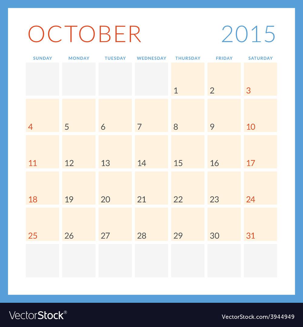 Calendar 2015 flat design template october week vector   Price: 1 Credit (USD $1)
