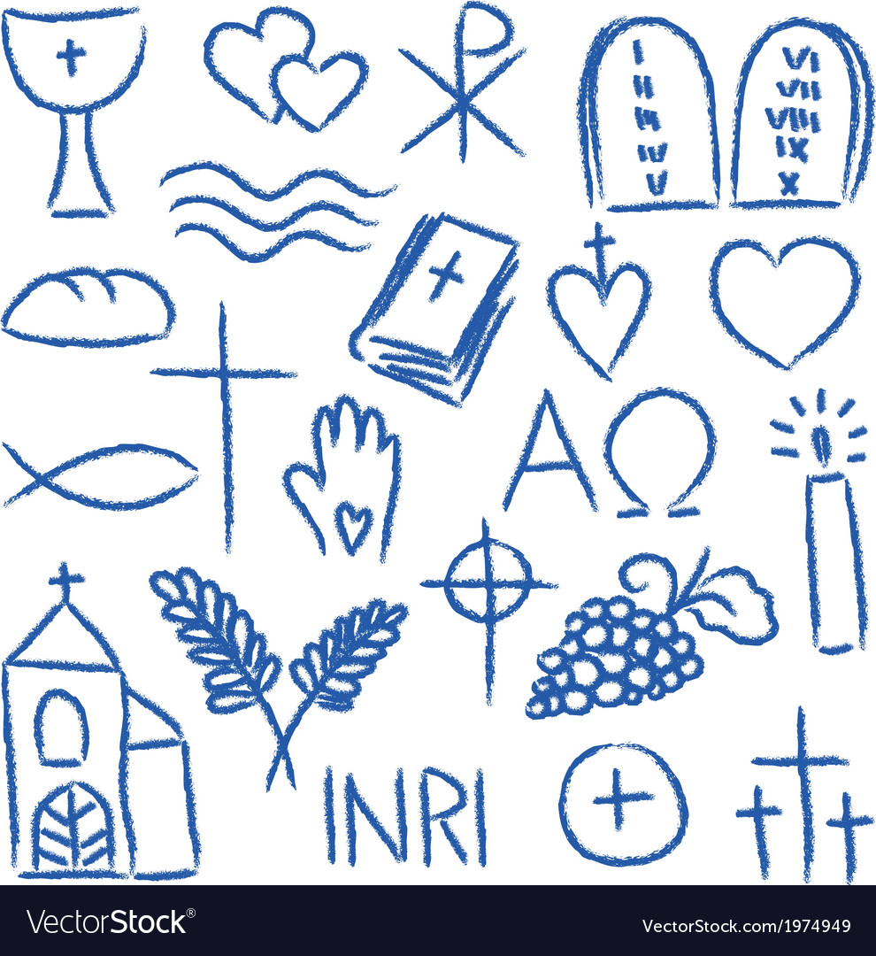 Christian doodles symbol set vector | Price: 1 Credit (USD $1)
